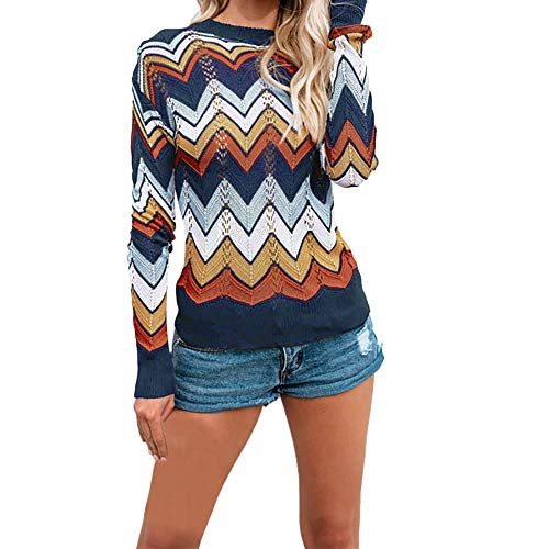 FIRERO New Womens Autumn and Winter O-Neck Casual Stripe Knitted Pullover Sweater Blue