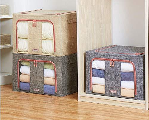 MHtech Set mit 2 Stück Faltbare Quilt Aufbewahrungstasche -zum Aufbewahren von Quilt,Kissen,saisonale Kleidung,Wasserdicht und staubdicht mit großem transparentem Fenster,Eingebaute Metallhalterung