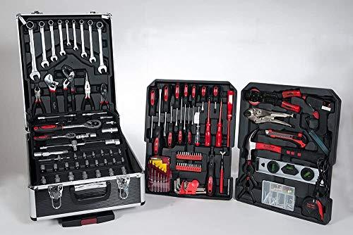 SCHUSTER Caja de herramientas con ruedas, juego de trabajo de 186 piezas, completo con maletín con ruedas, kit de herramientas