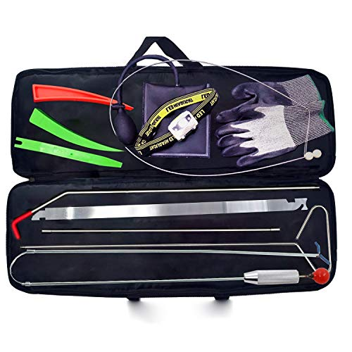 Full Professional Car Tool kit, Long Reach Grabber, Air Pump Bag, Non-Marring Wedges, with Carrying Case