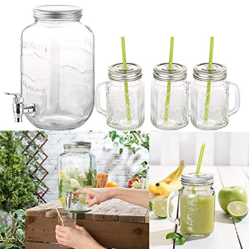 PEARL Retro Getränkespender: 4-teiliges Set aus Getränkespender und 3 Trinkgläser im Retrolook (Getränkespender mit Zapfhahn)