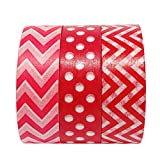 AllyDrew Red Obsession Japanese Washi Masking Tape (Set of 3), 10M L x 15mm W
