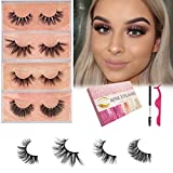 Doores 3D Mink Lashes, 4 Daily Styles False Lashes 16-19mm Siberian Mink Fur Real Natural Fake Eyelashes Hand Made Strips Lashes Soft Curl Reusable Make Up Eyelashes