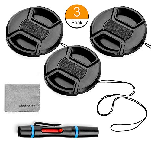 62mm Lens Cap Bundle, 3 Pack Universal Snap on Front Centre Pinch Lens Cover Set with Microfiber Lens Cleaning Cloth for Canon Nikon Sony Olympus DSLR Camera + Camera Lens Cleaning Pen