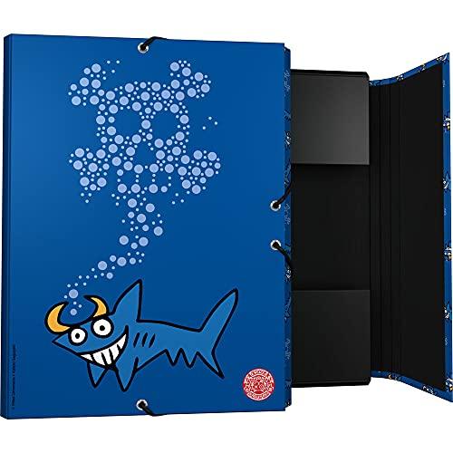 Grafoplás 82402633. Carpeta 3 Solapas, Cartón Forrado, Tapa Dura, Tamaño Folio, Colección Katuki Saguyaki, Shark, Certificado FSC