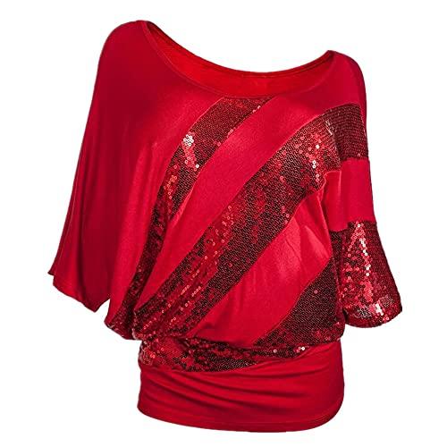 Camiseta Mujer Shirt Mujer Oversize Verano Cómodo Elegante Cuello Redondo Manga Corta Tendencia De Moda Lentejuelas Decoración Suelta Cómoda Mujer Tops Blusa Mujer D-Red XXL