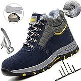 HOAPL Hombres Zapatos Acero Dedo pie segurida Trabajo Mantener Warmth Anti-Squashed Antideslizante Zapatilla Deporte Senderismo,Furblue,38