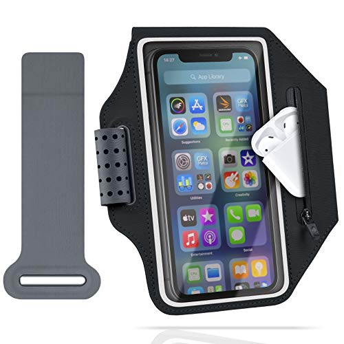 ykooe Brazalete móvil para Samsung Galaxy S20 S10 S9 S8 S21 Plus Ultra, Huawei P30 Lite Universal Lycra Brazalete Deportivo Ultraligero (Negro)
