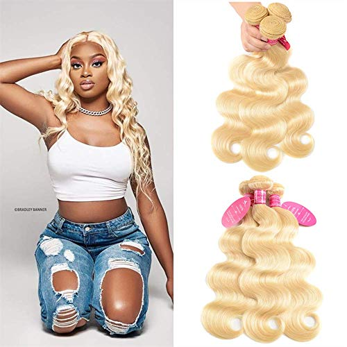 613 Body Wave Brazilian Hair 9A Brazilian 613 Body Wave 3 Bundles Unprocessed Human Hair Extensions Mink Hair Bundles Wet and Wavy Human Hair 613 Blonde 12 14 16