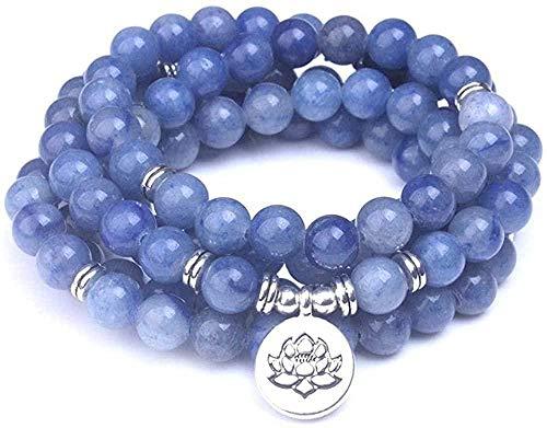 ZGYFJCH Co.,ltd Collar de Moda Smooth Blue Aventurine Stone Beads 108 Mala Pulseras Piedra Natural con Lotus Buddha Om Charms Mujeres Hombres Joyería de meditación