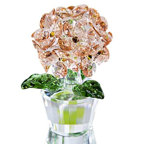 H&D HYALINE & DORA Kristallfigur, Hortensien, Glasfigur, Blumenornament, Büro, Tisch, Heimdekoration, Pink