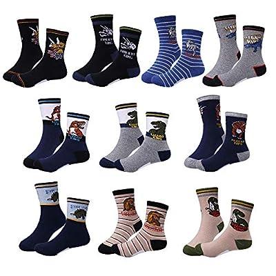 Boy Socks Age 4-9, Dinosaur Cotton Socks 4 5 6 7 8 9 Year Old Boy Christmas Gifts Toys for 4-9 Year Old Boys Birthday Present 4-9 Years old Kids Socks