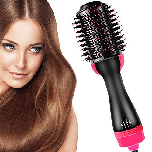 Hair Dryer Brush and Hot Air Brush, Bvser Air Hair Brush 3 in 1 Electric One Step Hair Dryer Volumizer with Negative Ion Curling Dryer Brush Styler, Hair Straightening Brush, Rotating Blow Dryer Brush All In One Dryer