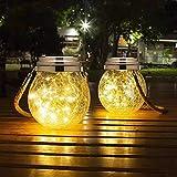 JSOT Solarlaterne für Außen, 2 Stück Glaslaterne 30 LED Warmes Licht Dekorative Hängende Solarlaterne für Garten Party Terrassen Dekoration