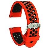 Elespoto Gear S2 Classic Watch Band Bracelet de Montre Silicone Bande pour Samsung Galaxy S2 Classic SM-R732/ Huawei Watch 2/ Motorola Moto 360 2ème Génération 42mm (Red Black)
