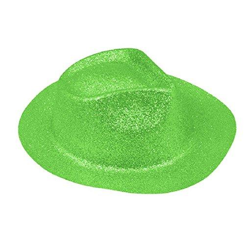 La Rigolade Borsalino PAILLETÉ Fluo Vert - Accessoire de déguisement - Cosplay pour Carnaval - Thême(s) : Disco