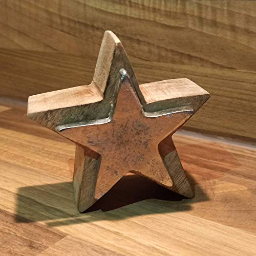 Houten ster van mangohout 10 cm met metalen plaat ca. 4 cm dikke kerstdecoratie houten decoratie