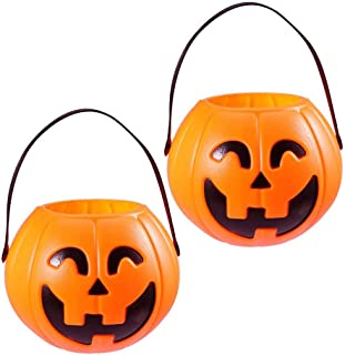 Toyvian Halloween Pumpkin Bucket Plastic Candy Basket Trick or Treat Pumpkin Candy Pail Holder 17cm 2 Pcs