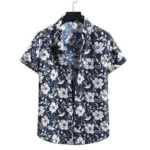 GQFGYYL Camisa de Manga Corta para Hombre Camisa Casual de Playa con Botones Blusa Estampada A la Moda,Verde,L