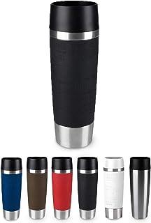 Emsa Travel Mug Grande Taza Termo, 0.5 L, Acero Inoxidable/Silicona, Plateado/Negro
