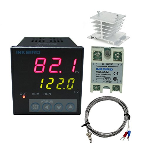 Inkbird F Display PID Temperature Controllers Thermostat Heat Sink and Solid State Relay 100 to 240ACV ITC-106VH 40DA SSR White Heat Sink K Probe