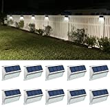 ROSHWEY Deck Lights Outdoor 30 LED Stainless Steel Fence Post Solar Lamps Waterproof Step Lighting...