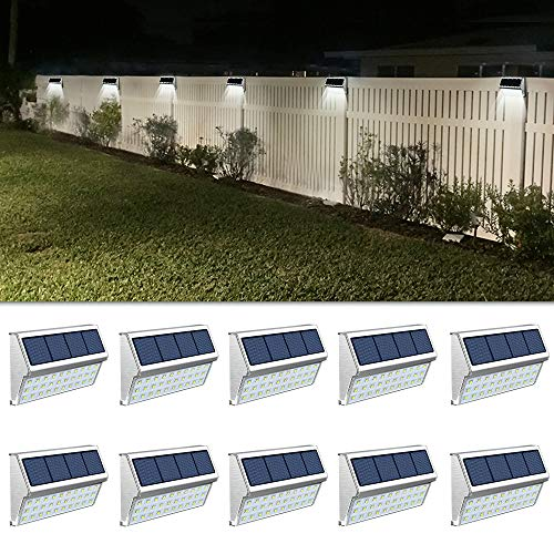 ROSHWEY Deck Lights Outdoor 30 LED Stainless Steel Fence Post Solar Lamps Waterproof Step Lighting for Walkway Stairs (Pack of 10, Cool White Light)
