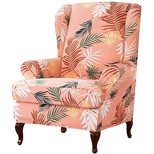 Jacquard Ohrensessel Husse Ohrensesselbezug Sesselbezug Elastic Stretch Husse Für Ohrensessel 2 STÜCKE Gestrickte Jacquard Tiger Hocker Set Einfarbig Stuhlbezug (Orange rosa)