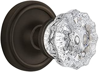 """Nostalgic Warehouse Classic Rosette with Crystal Glass Door Knob, Privacy - 2.375"""", Oil Rubbed Bronze"""