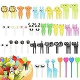 SPEACOUR 40 PCS Palillos de Dientes de Animales Mini Tenedores de Frutas Tenedores Niños Plástico Tenedor de Frutas Postre de Fruta para Niños de Dibujos Animados
