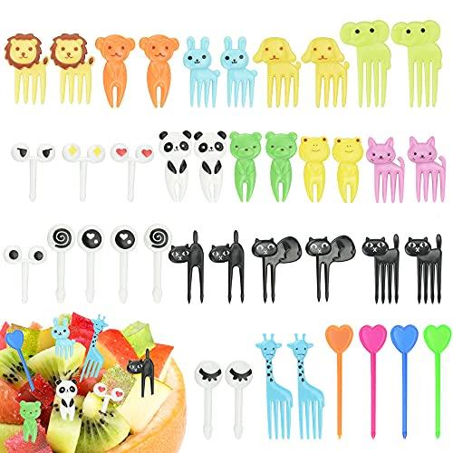 SPEACOUR 40 PCS Palillos de Dientes de Animales Mini Tenedores de Frutas Tenedores Niños Plástico Tenedor de Frutas Postre...