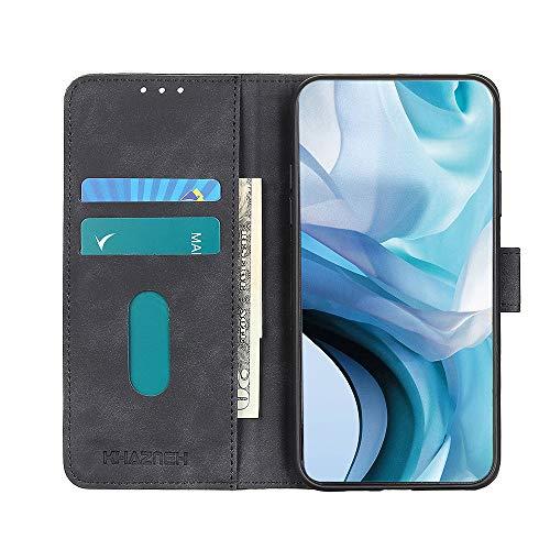 Brieftasche Schutzhülle für Oppo A53s Hülle mit Kartenfach Etui Standfunktion & Magnetisch Handyhülle Leder Flip Lederhülle für Oppo A53s (Schwarz)