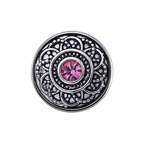 Quiges Damen Mini Click Button 12mm Versilbert Variation Ornament