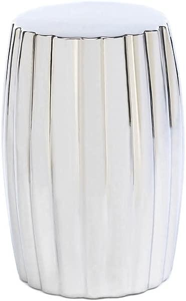 Home Locomotion Ceramic Silver Decorative Stool