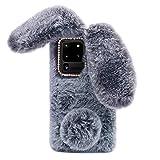 Omorro for Galaxy S6 Case [Plush Rabbit Case] Stylish Desgin Cute Furry Rabbit Bunny Fur Bling Crystal Rhinestone Design Fluffy Cool Soft Protective Cover Slim Shell for Samsung Galaxy S6