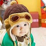 YMKWQF Kindermütze Coole Junge Mädchen Winter Pilot Warme Mütze Hut Mütze Für KinderBraun