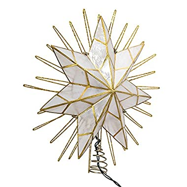 Kurt Adler 14  7-Point Natural Capiz Star Lighted Treetop