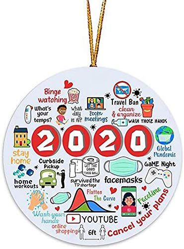 ZWX New Christmas Decorations for 2020-Christmas Tree Decorations, Santa Claus 2020, Peace and Happiness Decorations Christmas Tree Decoration Pendant Crafts with 2020 Unique (F)
