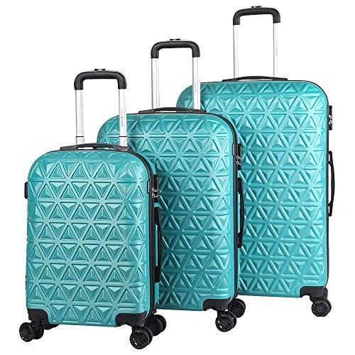 Melko 3tlg. Hartschalen Kofferset Türkis Reisekoffer Reisetasche Trolley Handgepäck