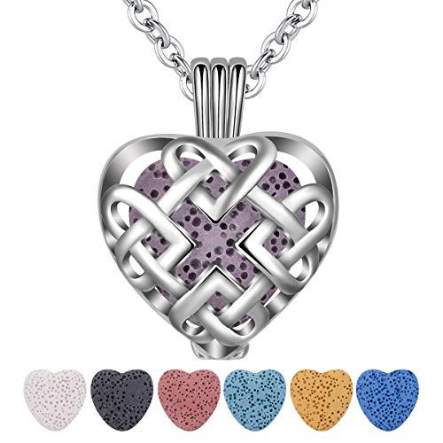 INFUSEU Aromatherapie ätherisches Öl Diffusor Frauen Halskette, Celtic Knot Herz Parfüm Diffusor Anhänger mit 6PC Lava Steinen & Kette 24