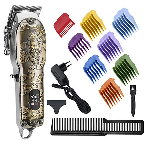 RESUXI Cordless Ornate Hair Clippers for Men, Professional Wireless Clippers for Hair Cutting Mens Beard Trimmer Grooming Kit Barber Set for Men with LED Display 2500mAh Lithium Battery All-Metal Body