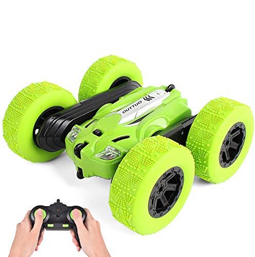 LUOWAN 1:28 Coche Teledirigido, 2.4GHz Stunt RC Car, Doble Lado Rotación de 360 Grados de Alta Velocidad, Juguetes para Niños(Verde)