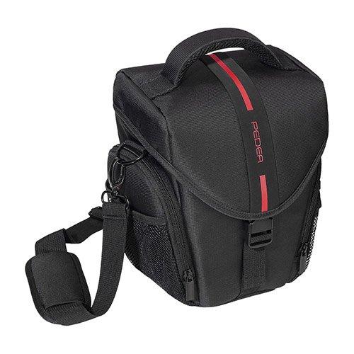 PEDEA DSLR-Kameratasche Essex Fototasche für Spiegelreflexkameras mit wasserdichtem Regenschutz, Tragegurt und Zubehörfächern, Gr. L schwarz/rot