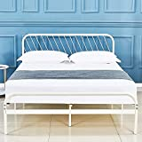 sleepalace White Metal Platform Bed Frame Queen Size with Headboard and Footboard Slat Suppot,Mattress Foundation,Five Years Warranty