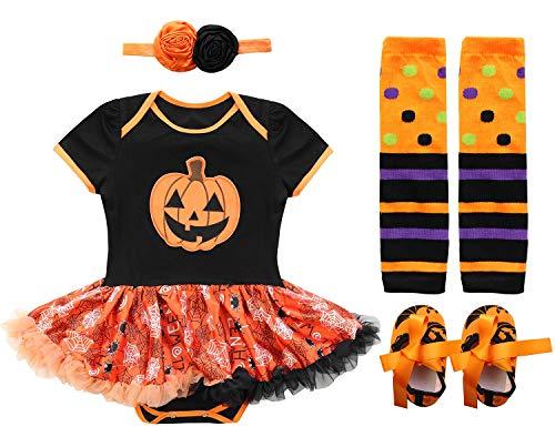 FANCYINN Bebé Niña Tutu Dress Romper Pumpkins Disfraz de Halloween Diadema Calientapiernas Zapatos 4pcs Set (Naranja, 73 (6-9M))