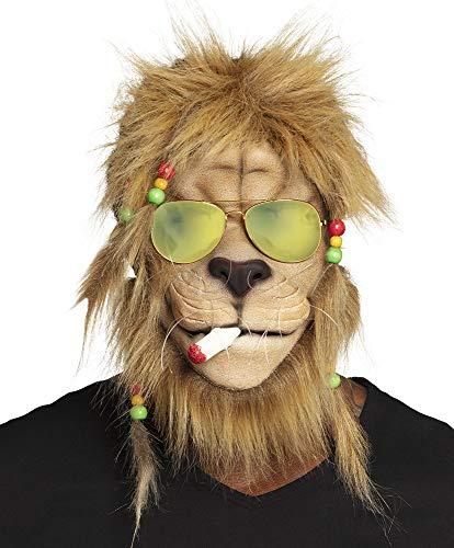 shoperama Maske Kiffender Rasta Löwe mit Haaren und Brille Latexmaske Karneval lustig