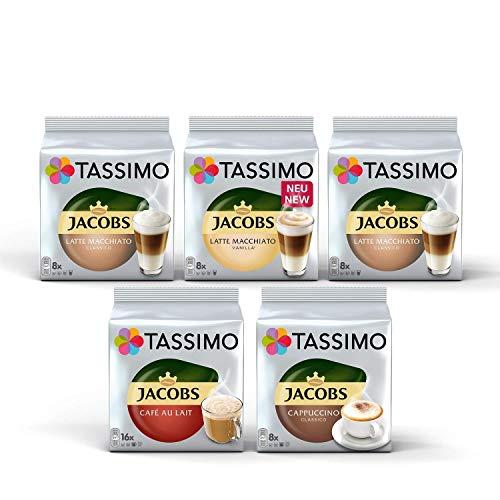 Tassimo Jacobs Lovers Sortenpackung Kaffeekapseln - Tassimo Jacobs Latte Macchiato, Latte Macchiato Vanilla, Café Au Lait, Cappuccino Classico - 5 Packungen (48 Portionen)