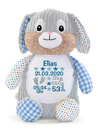 Stofftier Teddy Bär Geschenk mit Namen und Geburtsdatum personalisiert blau rosa