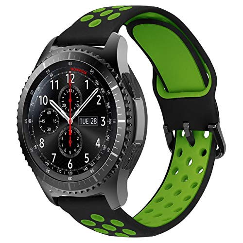 MroTech Correa 22mm Silicona Compatible para Samsung Gear S3 Frontier/Classic/Galaxy Watch 46mm Pulsera de Repuesto para GTR 47MM/Huawei Watch GT/Active/Elegant/GT2 46mm 22 mm Watch Band, Negro/Verde