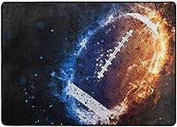 アメリカンフットボールスポーツエリアラグ、リビングダイニングルームベッドルームキッチン用スポーツラグ、5'X7'保育園ラグフロアカーペットヨガマット
